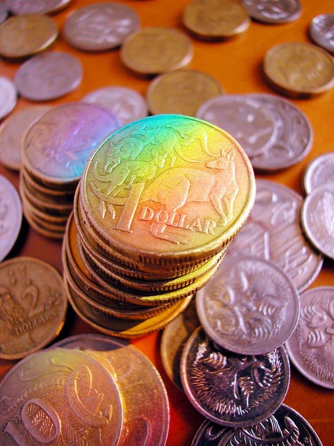 Pilha de moedas australianas foto de stock