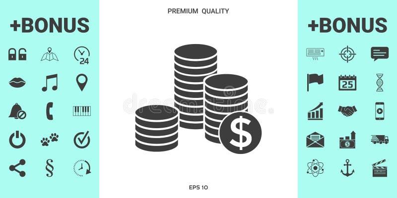 Pilha de moedas com símbolo do dólar ilustração stock