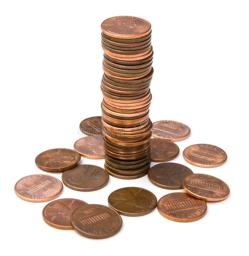 Pilha de moedas de um centavo fotos de stock royalty free
