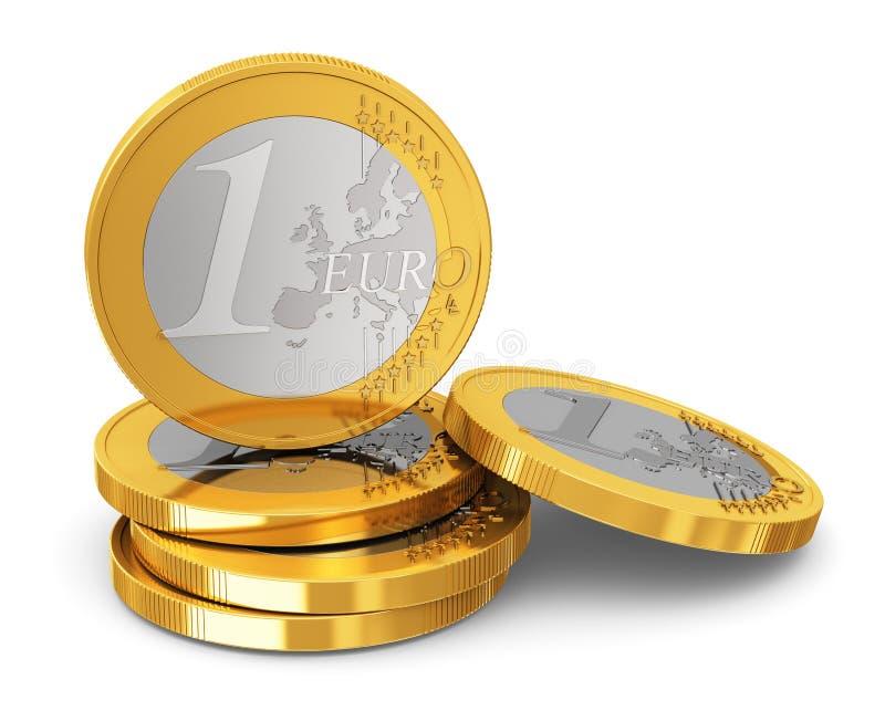 Pilha de moedas de um Euro ilustração royalty free