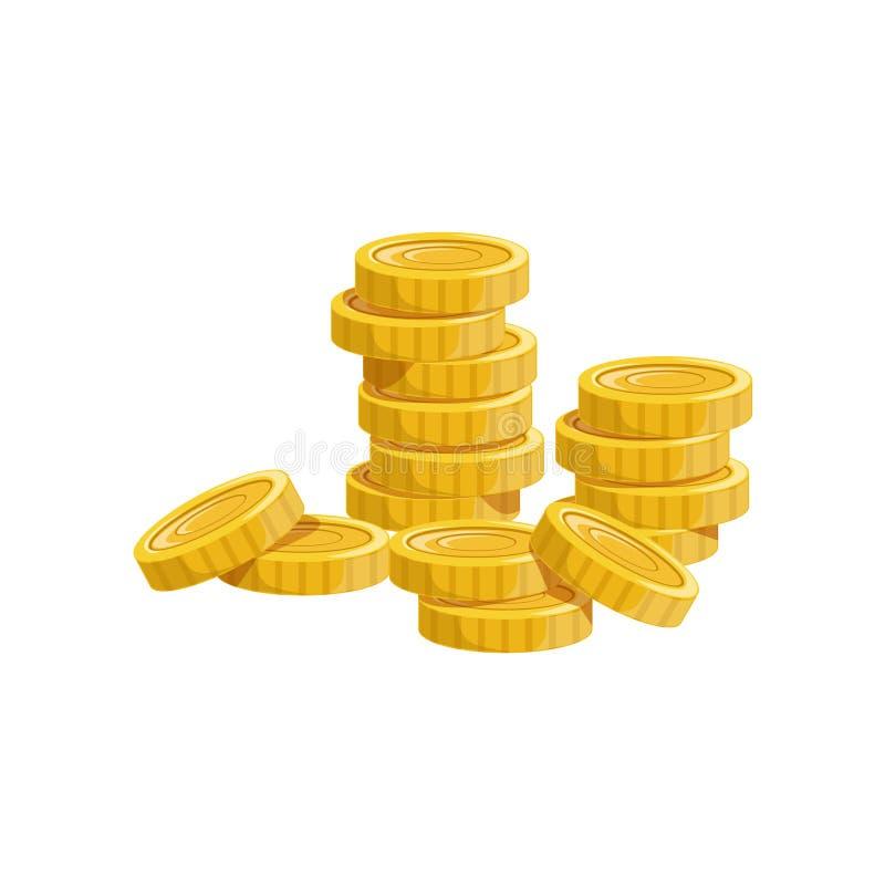 A pilha de moedas douradas, do tesouro escondido e das riquezas para a recompensa no flash veio variação do projeto ilustração do vetor