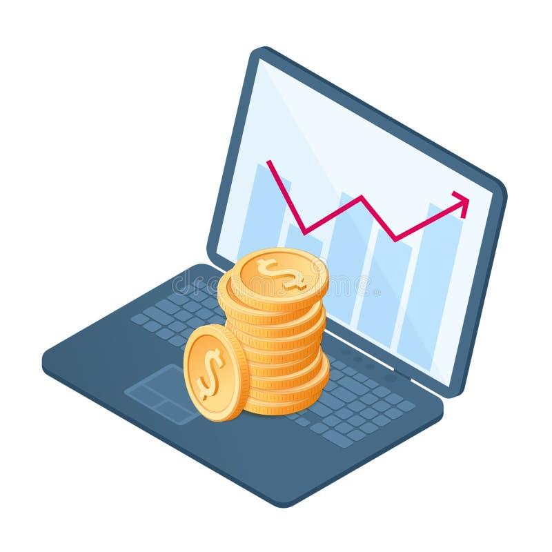 A pilha de moedas no gráfico do crescimento ilustração do vetor
