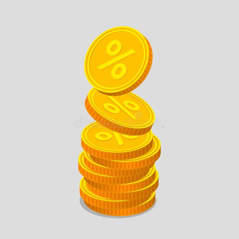 Pilha de moedas de ouro com sinais de por cento ilustração do vetor
