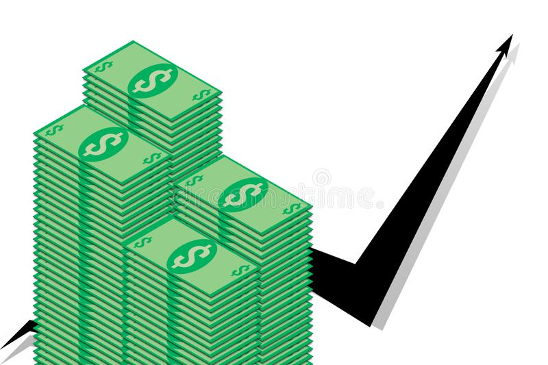 Pilha de notas de dólar no fundo de gráficos pretos ilustração do vetor