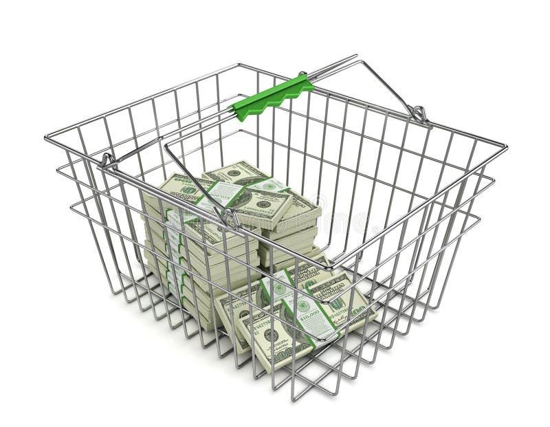 Pilha de notas de dólar no cesto de compras ilustração do vetor