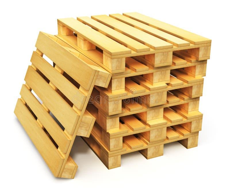 Pilha de páletes de madeira do transporte ilustração stock