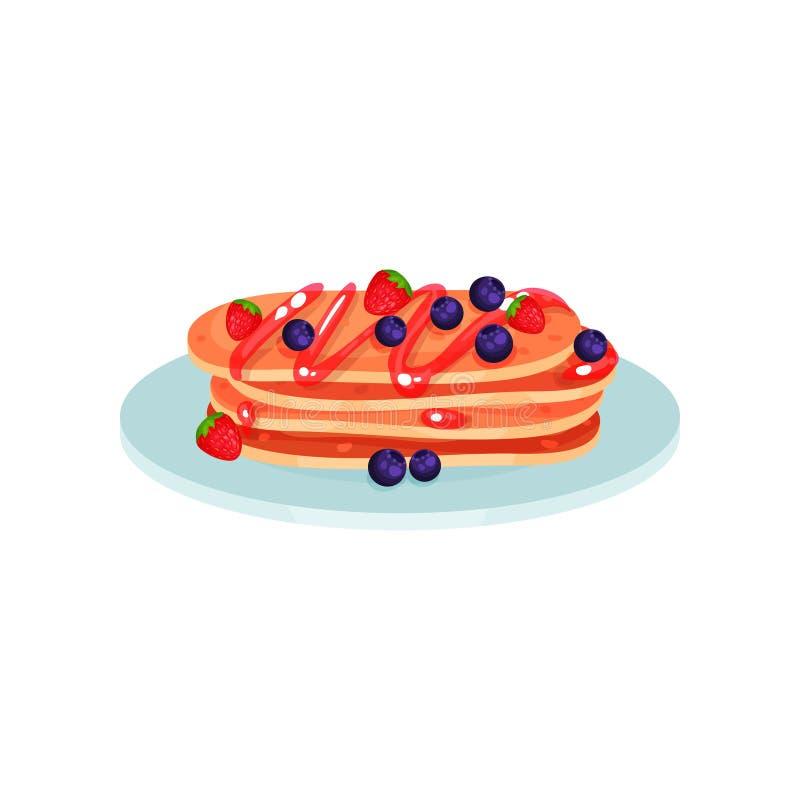 Pilha de panquecas com mirtilo e morango, alimento para a ilustração do vetor do café da manhã em um fundo branco ilustração stock
