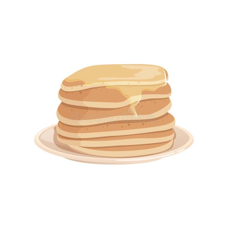 A pilha de panquecas deliciosas cobriu com xarope do mel ou de bordo na placa Sobremesa saboroso do fast food Vetor liso colorido ilustração royalty free