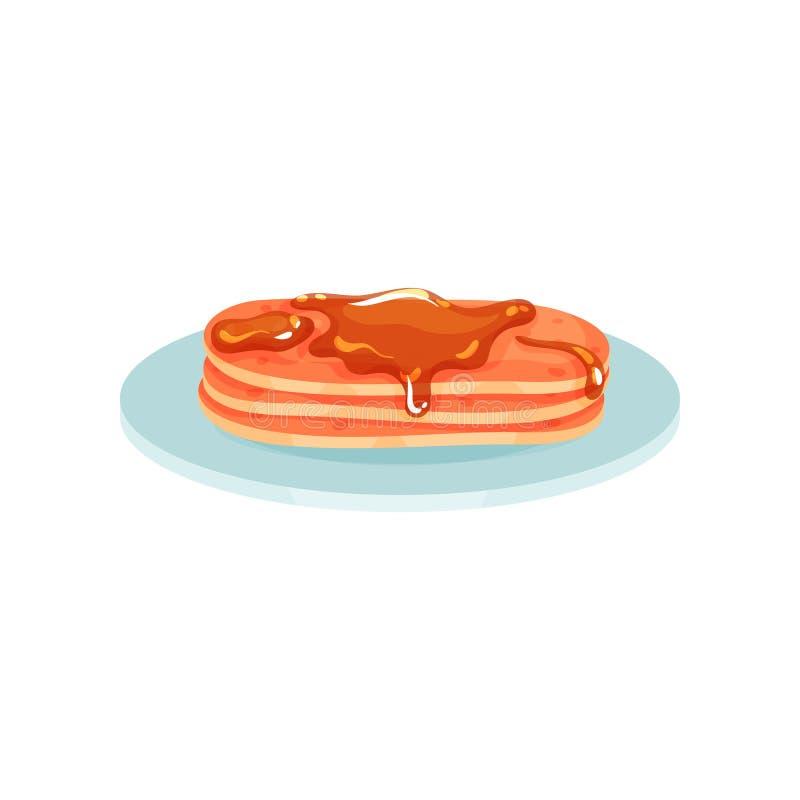 Pilha de panquecas em uma placa com xarope do mel e de bordo, alimento para a ilustração do vetor do café da manhã em um fundo br ilustração do vetor