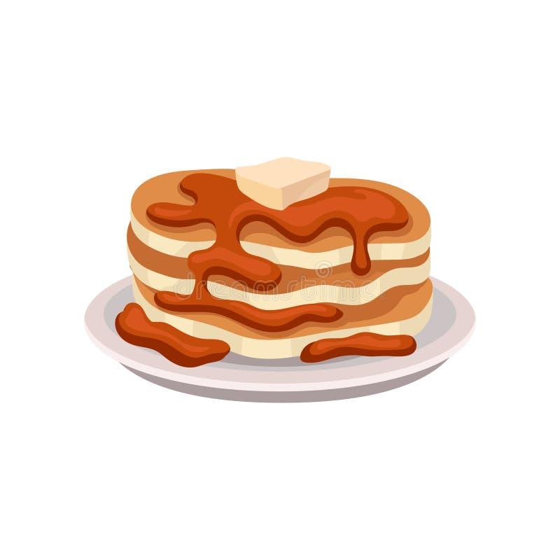 Pilha de panquecas frescas com xarope de chocolate e parte de manteiga na parte superior Elemento saboroso do vetor do breakfastF ilustração stock