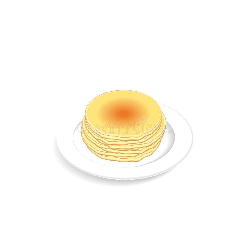 Pilha de panquecas macias e frescas na placa Menu do alimento de café da manhã, vista isométrica ilustração stock