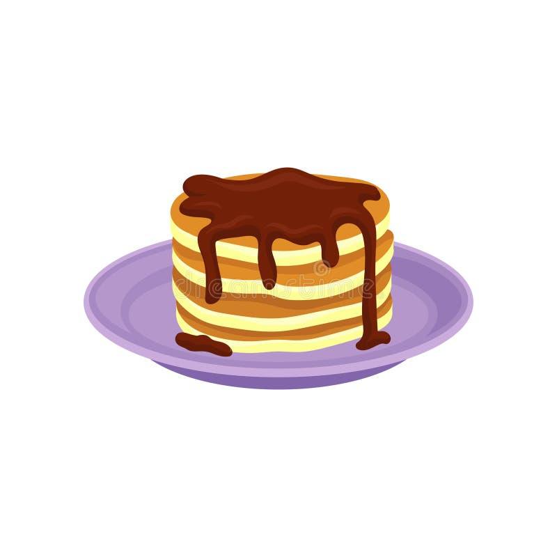 Pilha de panquecas saborosos cobertas com xarope de chocolate Alimento delicioso para o projeto liso do vetor do café da manhã ilustração stock