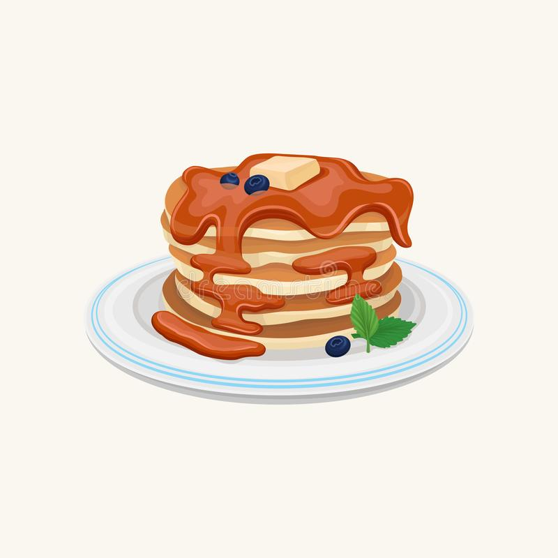 A pilha de panquecas saborosos cobriu com mel ou chocolate, parte de manteiga na parte superior, mirtilos e folhas de hortelã del ilustração royalty free