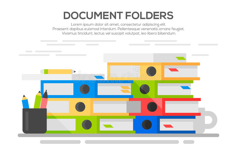 Pilha de papéis Pastas coloridas ilustração stock
