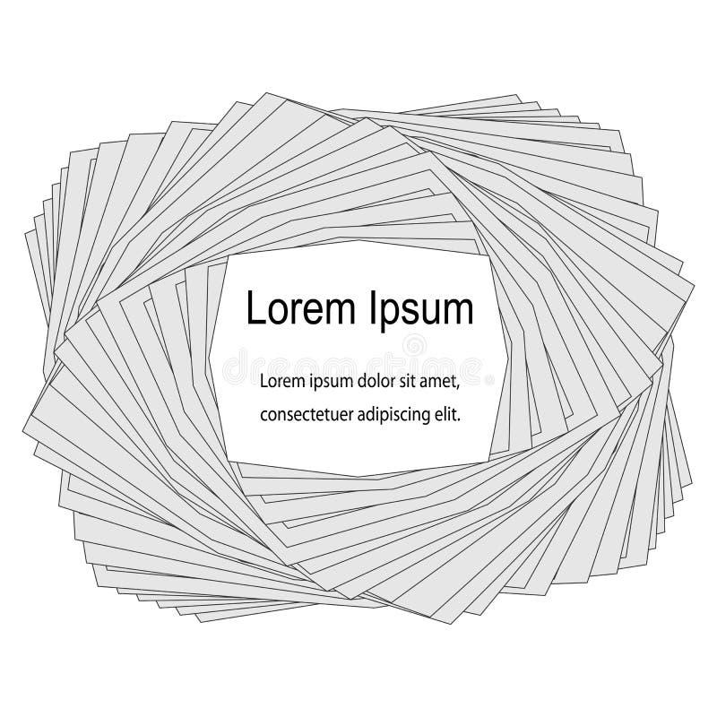 Pilha de papéis rodopiados Molde para cartões de visita, etiquetas, insetos, bandeiras, crachás, cartazes, etiquetas ilustração royalty free
