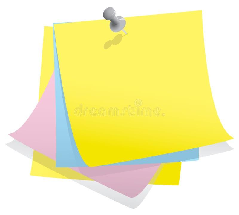 Pilha de papel de nota com pino ilustração do vetor