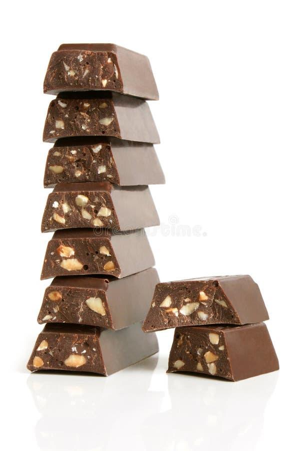 Pilha de partes do chocolate fotografia de stock royalty free