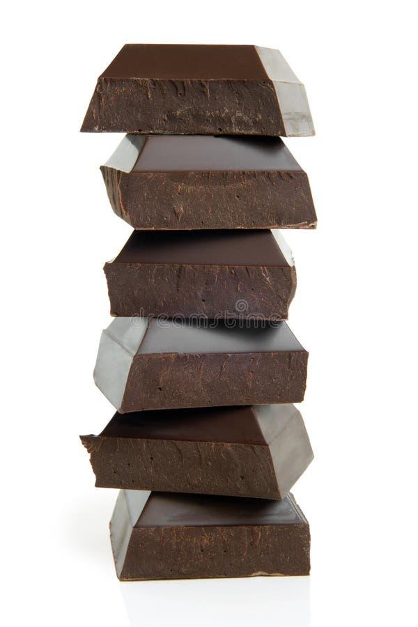 Pilha de partes do chocolate foto de stock