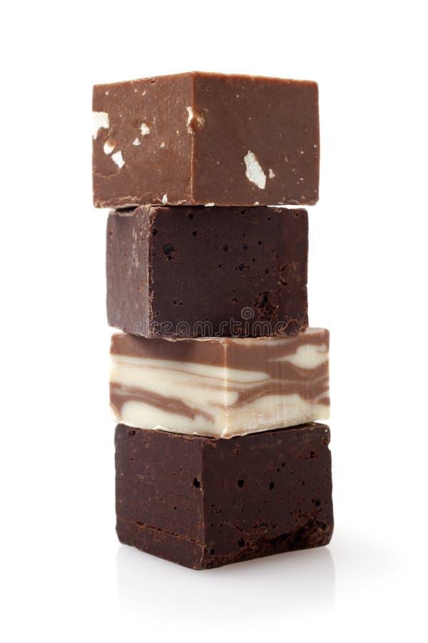 Pilha de partes do chocolate imagem de stock royalty free