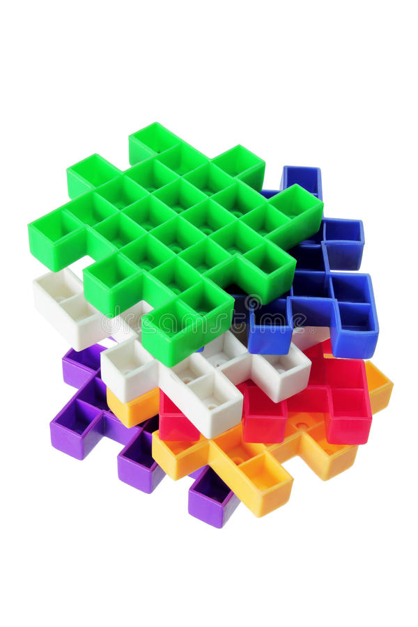 Pilha de partes plásticas do enigma imagem de stock royalty free