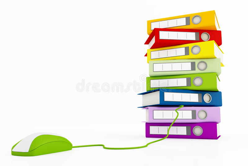 Pilha de pasta de anel e de rato verde ilustração do vetor