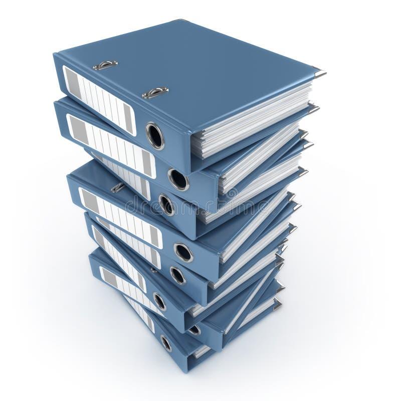 Pilha de pastas de anel azuis ilustração royalty free