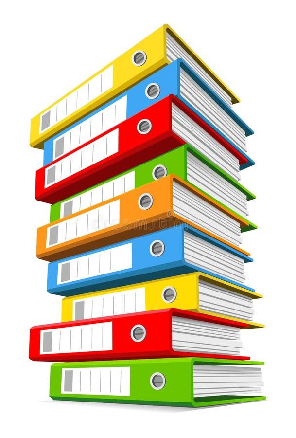 Pilha de pastas de anel coloridas ilustração stock