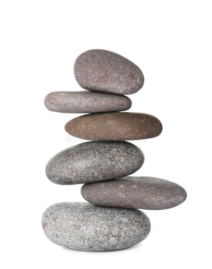 Pilha de pedras dos termas no branco fotografia de stock royalty free