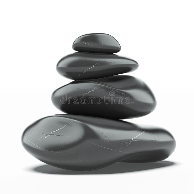 Pilha de pedras quentes dos termas fotografia de stock