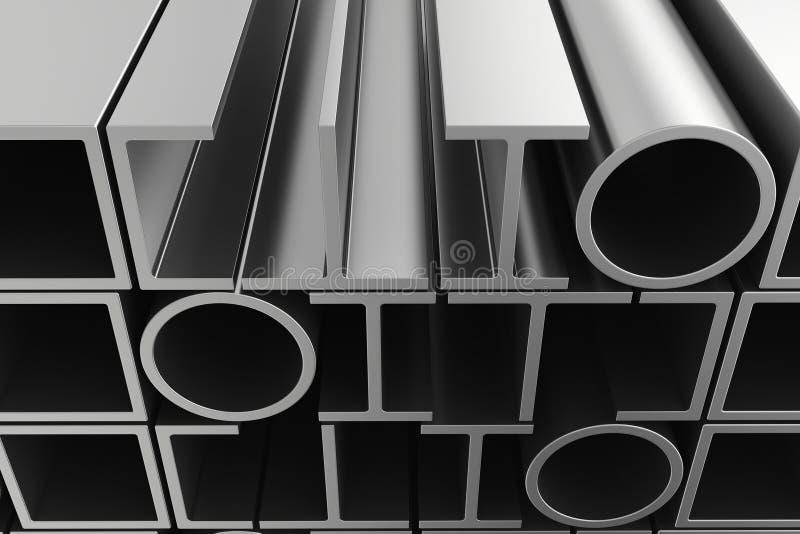 Pilha de perfis das tubulações de aço ilustração stock