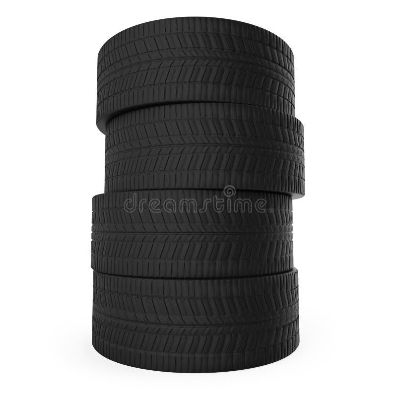 Pilha de pneumáticos do automóvel ilustração do vetor