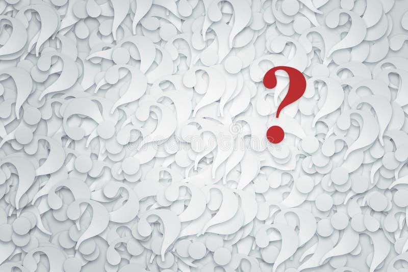 Pilha de pontos de interrogação em um fundo branco ilustração royalty free