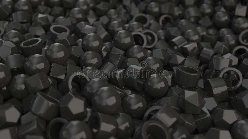 Pilha de primitivos pretos ilustração stock