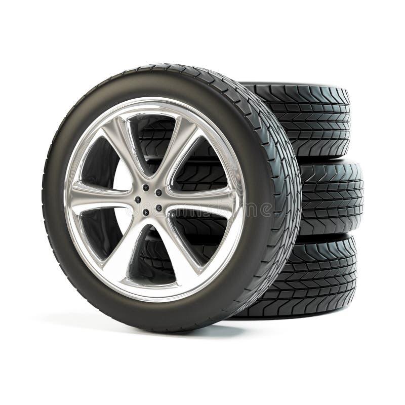 Pilha de quatro rodas de carro novas foto de stock royalty free