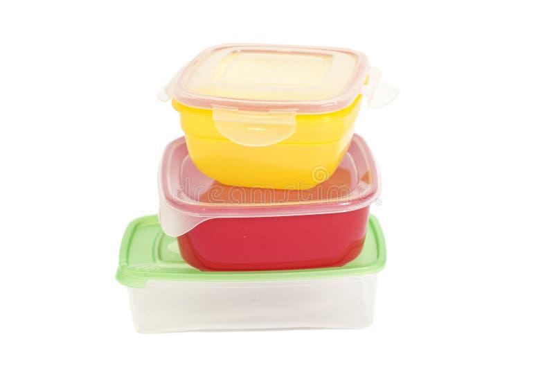 Pilha de recipientes plásticos do alimento imagens de stock