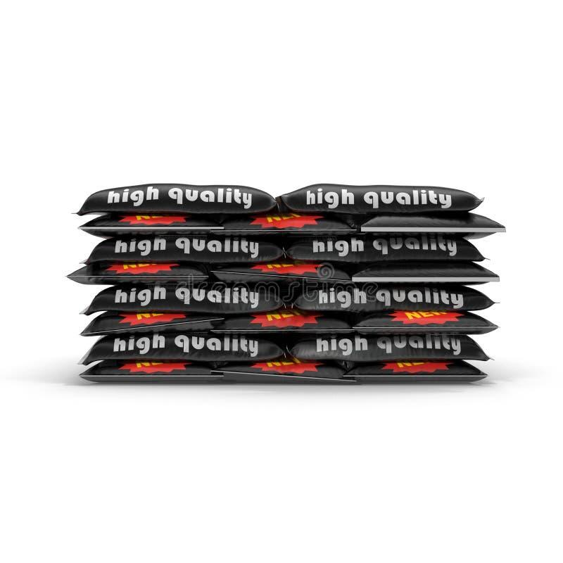 Pilha de sacos de papel com o cimento isolado no branco ilustração 3D ilustração do vetor