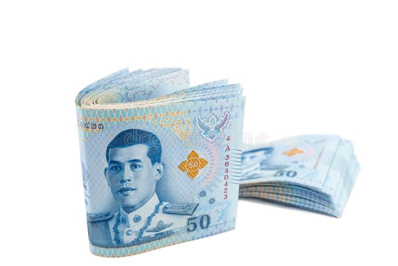 Pilha de Tailândia 50 cédulas do baht imagem de stock