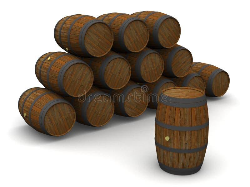 Pilha de tambores de vinho velhos ilustração stock