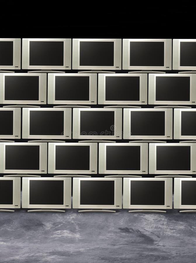 Pilha de televisões ou de indicadores dos monitores ilustração royalty free