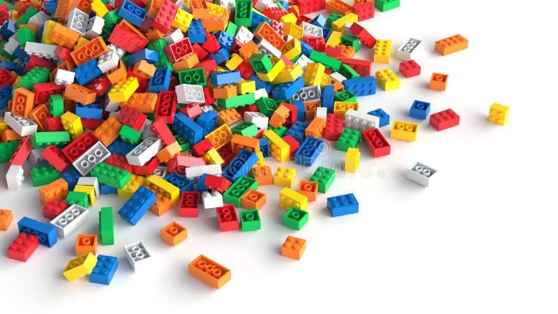Pilha de tijolos coloridos do brinquedo no fundo branco ilustração stock