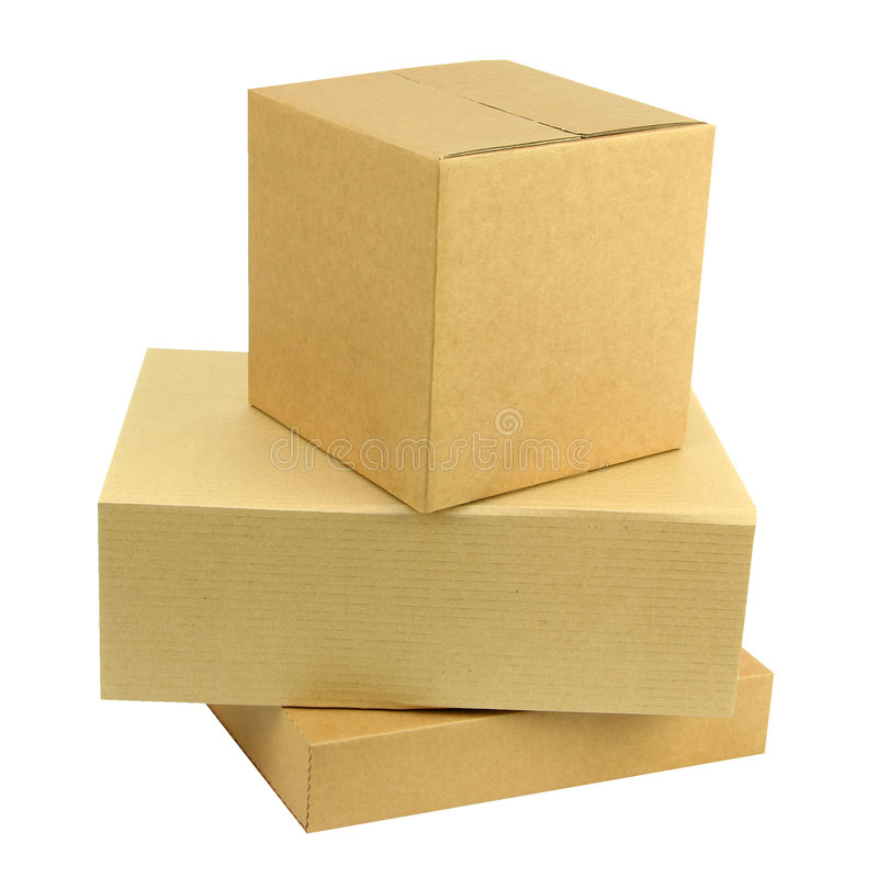 Pilha de três caixas foto de stock