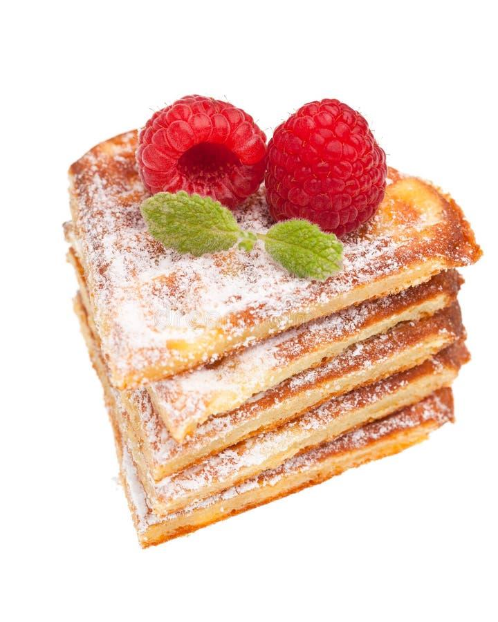 Pilha de waffles com framboesas imagem de stock royalty free