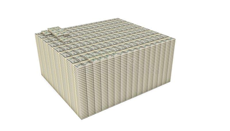 Pilha do dólar isolada no fundo branco ilustração do vetor