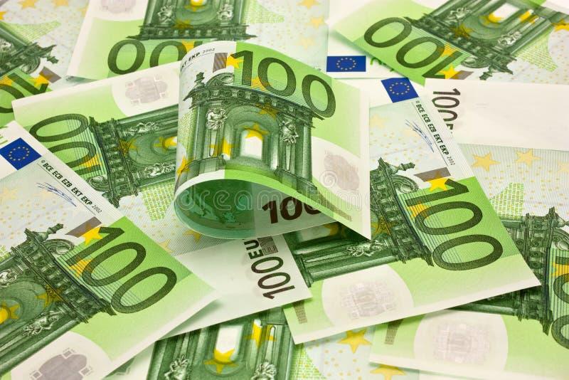 Pilha do euro do dinheiro 100 imagens de stock royalty free