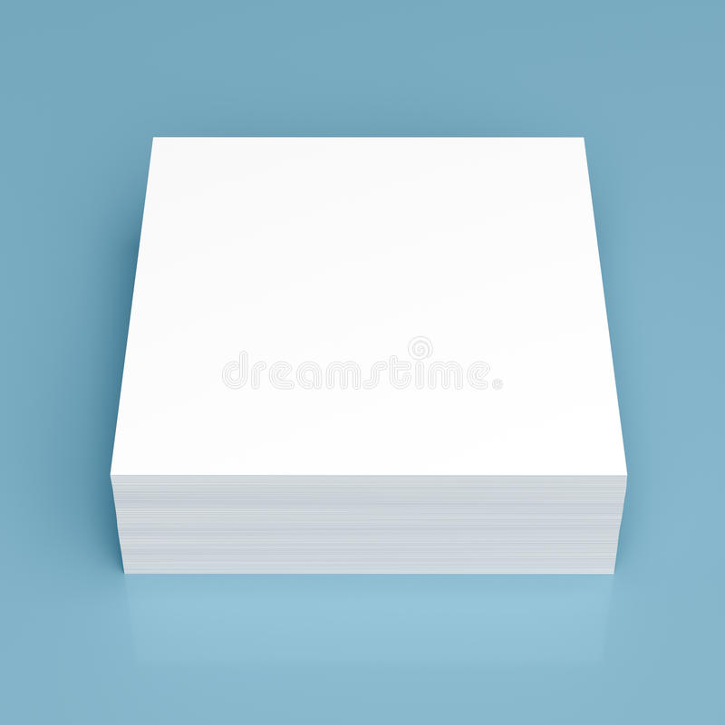 Pilha do Livro Branco no fundo azul ilustração stock
