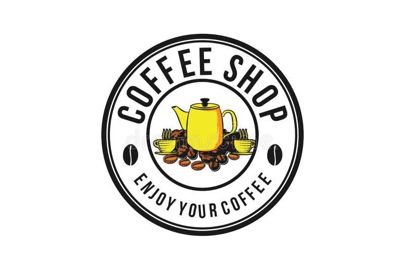 pilha do logotipo do potenciômetro do feijão e do chá de café ilustração royalty free