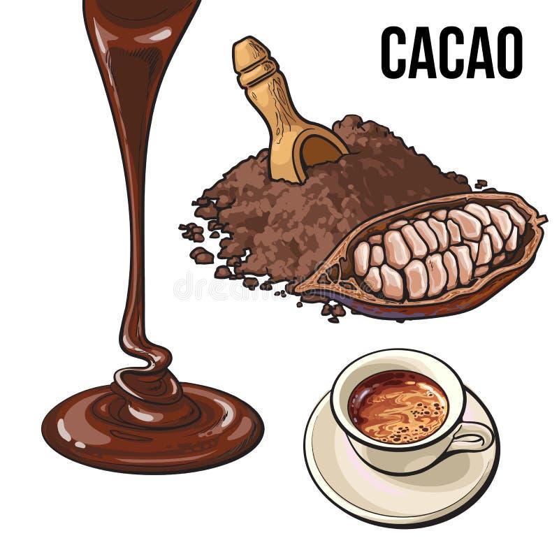 Pilha do pó de cacau, do fruto, do copo do chocolate quente e da cobertura ilustração do vetor