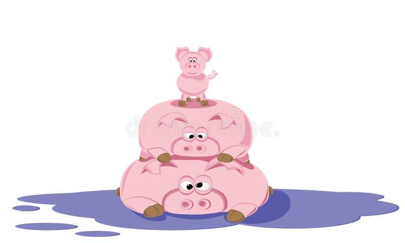 Pilha do porco Porco três: mamã, paizinho e leitão na poça Ano novo chinês O ano do porco Ilustração do vetor ilustração stock