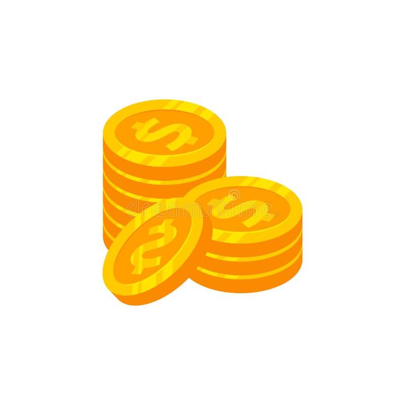 pilha do projeto do ícone do vetor do dinheiro das moedas projeto do símbolo do sinal do dinheiro ilustração royalty free