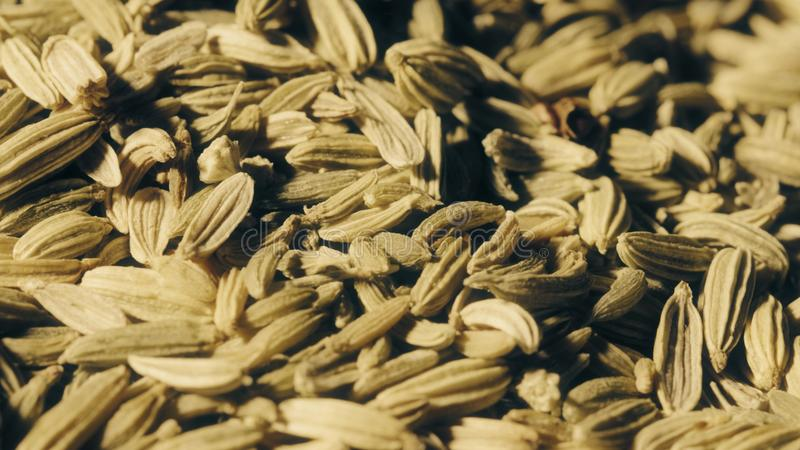 Pilha do tiro macro das sementes de cominhos foto de stock